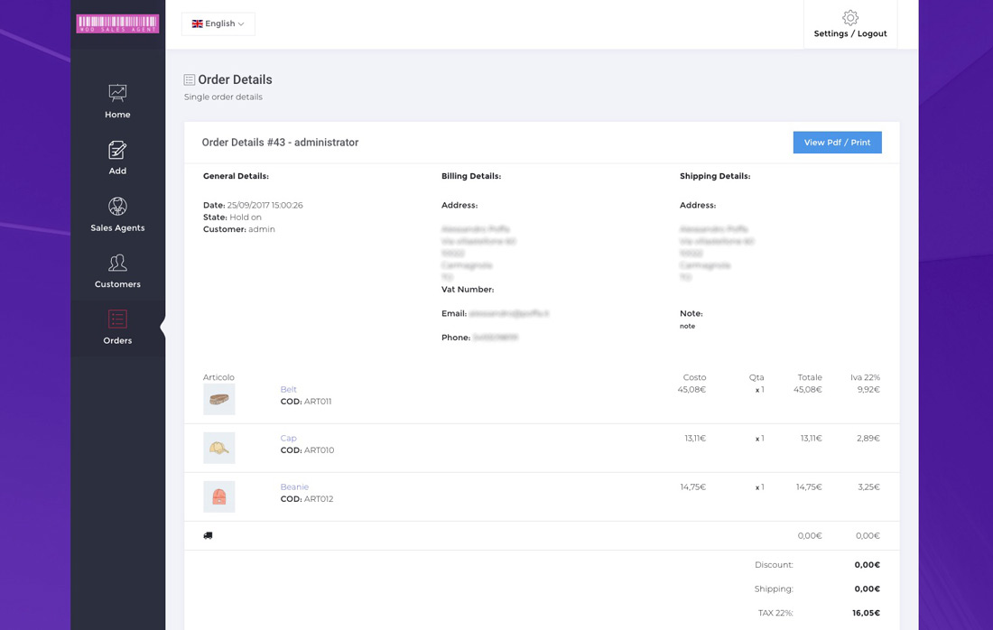 woo sales agent order details